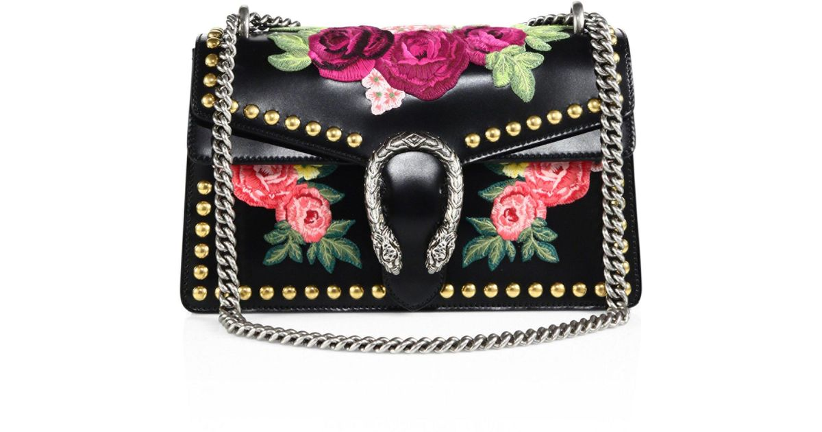 d7d683214 Gucci Dionysus Studded Floral-embroidered Leather Chain Shoulder Bag in  Black - Lyst