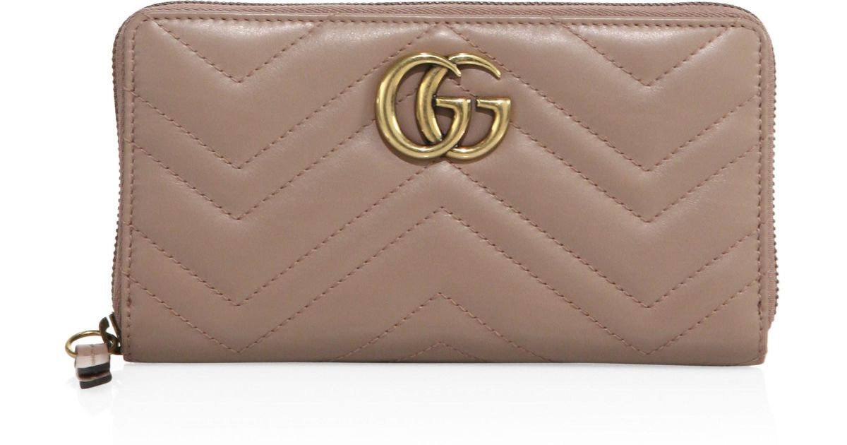 97bd2ab52c4 Lyst - Gucci GG Marmont Medium Quilted Zip Wallet