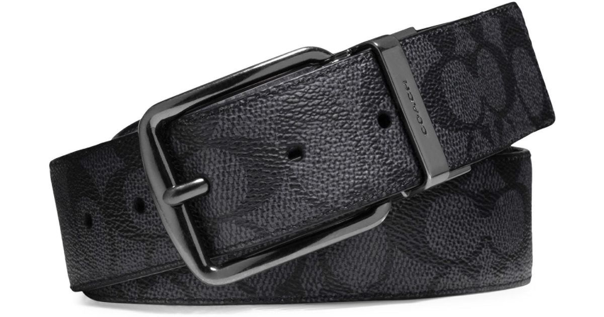 7917dc15a4656 Lyst - COACH Signature Logo Leather Belt in Black for Men