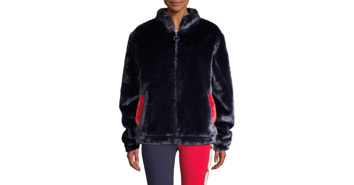 cfbe00da Fila Multicolor Women's Arianna Faux Fur Jacket - Peacoat Chinese Red
