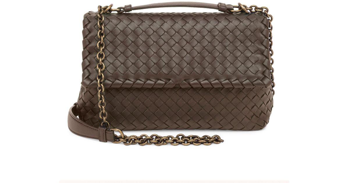 28e0e6e759ab9 Bottega Veneta Women s Small Olimpia Intrecciato Leather Chain Shoulder Bag  - Mustard - Lyst