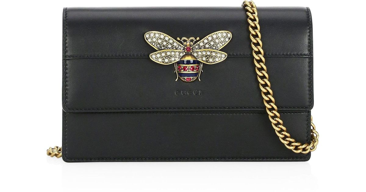 bc725e5b11f Lyst - Gucci Queen Margaret Wallet On Chain in Black