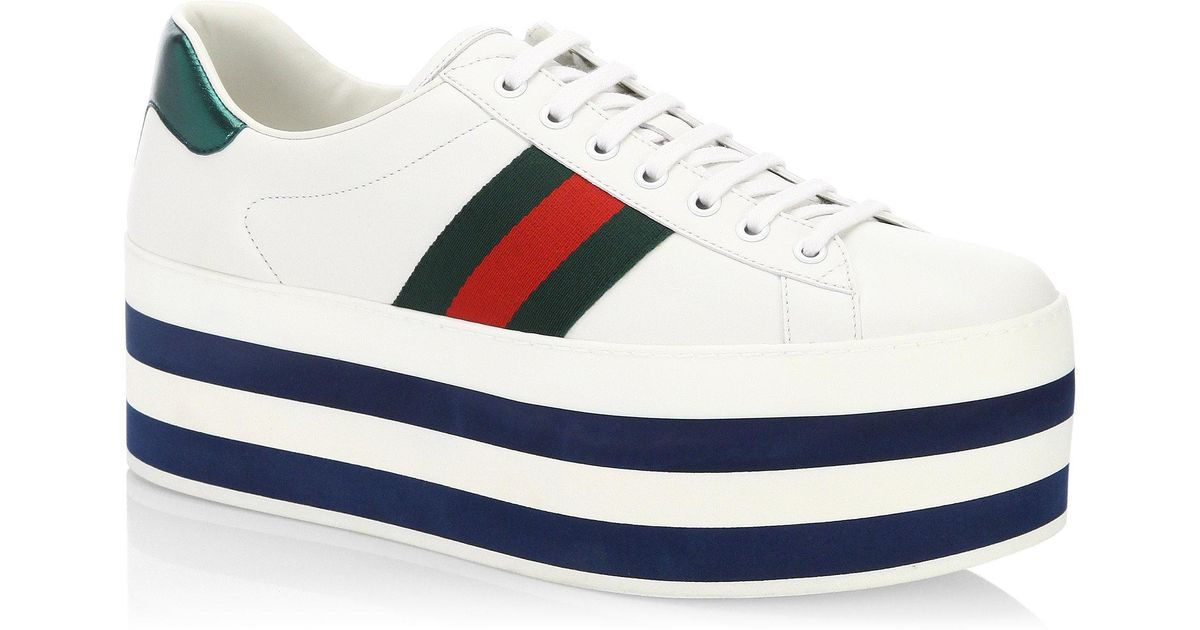 Gucci New Ace Leather Platform Sneakers