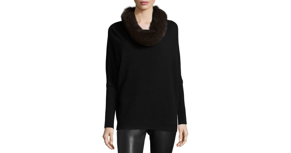 Saks fifth avenue Fox Fur & Cashmere Cowlneck Sweater in Black | Lyst