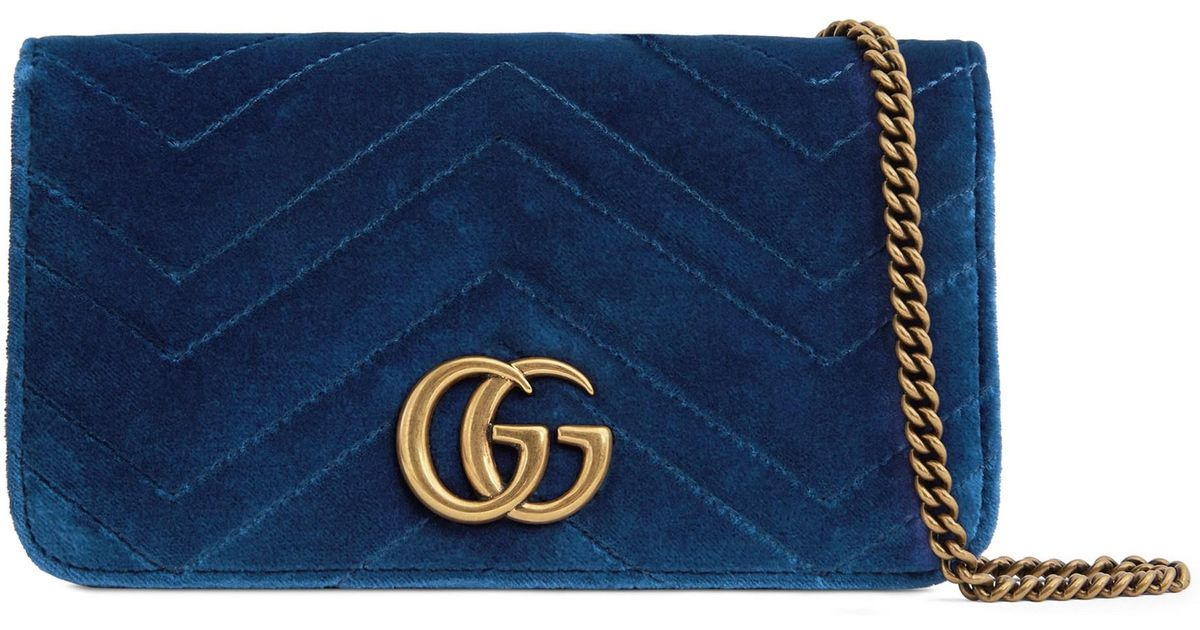 41b3a38fd8b103 Gucci Women's GG Marmont Velvet Wallet On Chain - Cobalt in Blue - Lyst