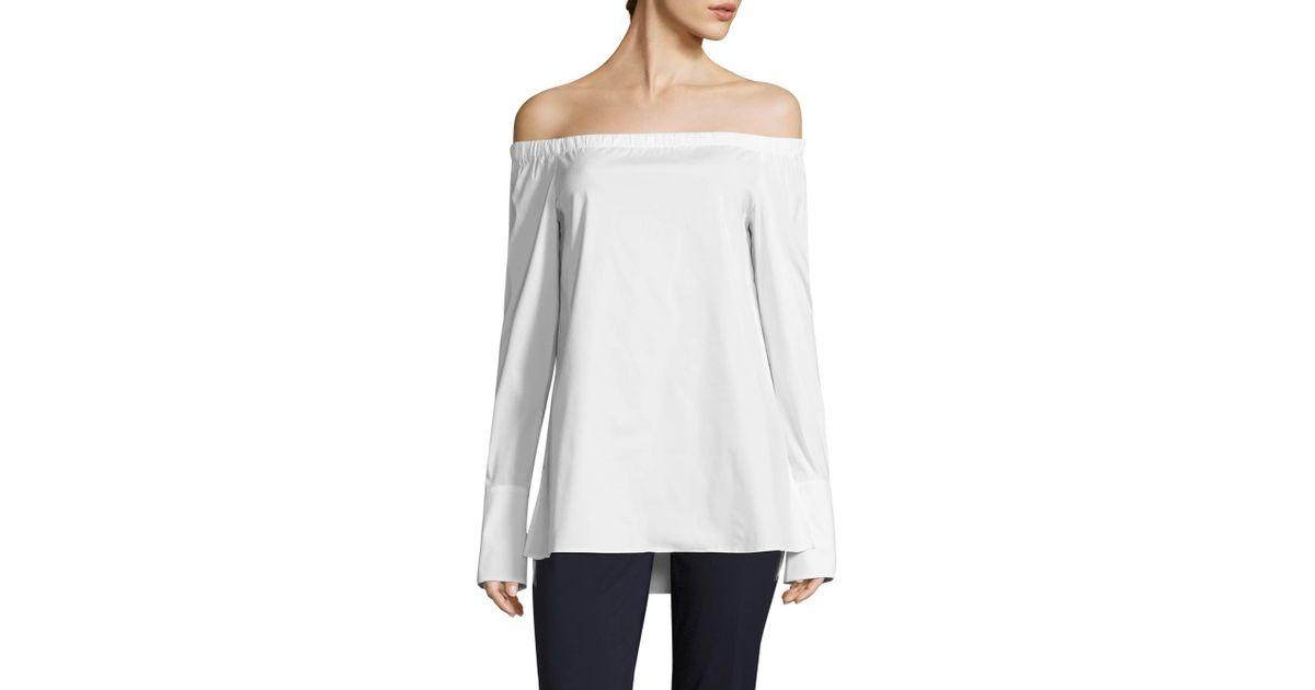 746b9f743dc17 Lyst - Lafayette 148 New York Women s Amy Off-the-shoulder Blouse - White -  Size Small in Black
