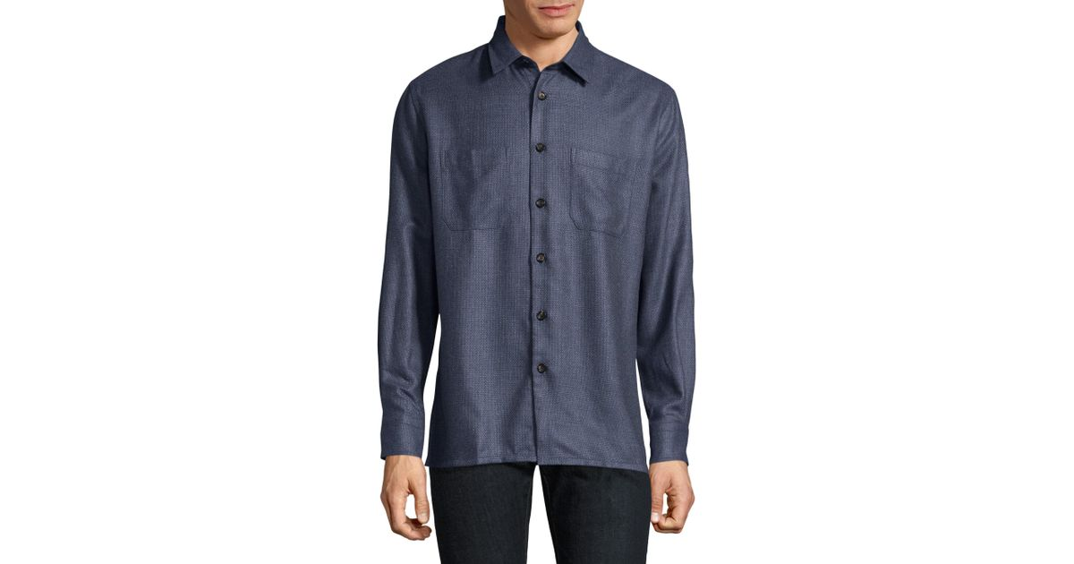 Luciano barbera textured silk wool button down overshirt for Wool button down shirt
