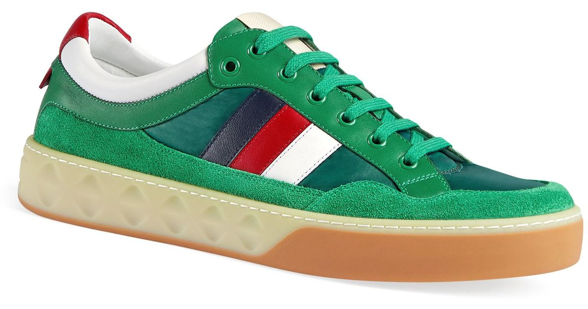 0db5d20e0 Gucci Leather And Nylon Sneakers in Green for Men - Lyst