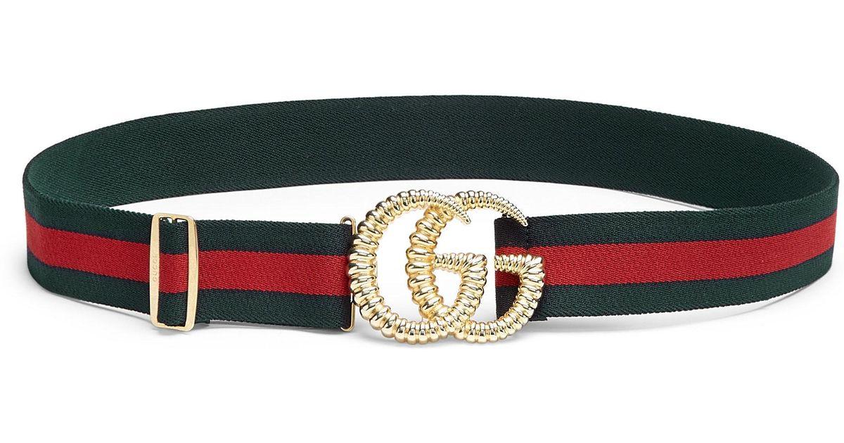 0ca3f2d8e Lyst - Gucci Women's GG Logo Stripe Belt - Red White - Size 95cm (size 10)  in Black