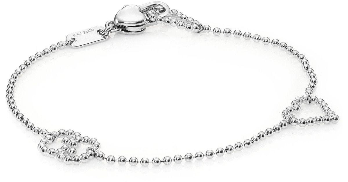 14219fad7 Gucci Boule Heart & Interlocking G Sterling Silver Bracelet in Metallic -  Lyst