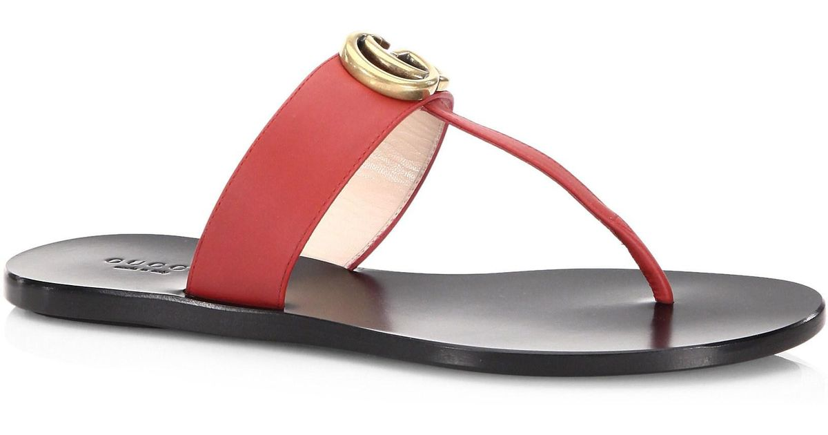 Gucci Leather Gg T-strap Sandal - Lyst