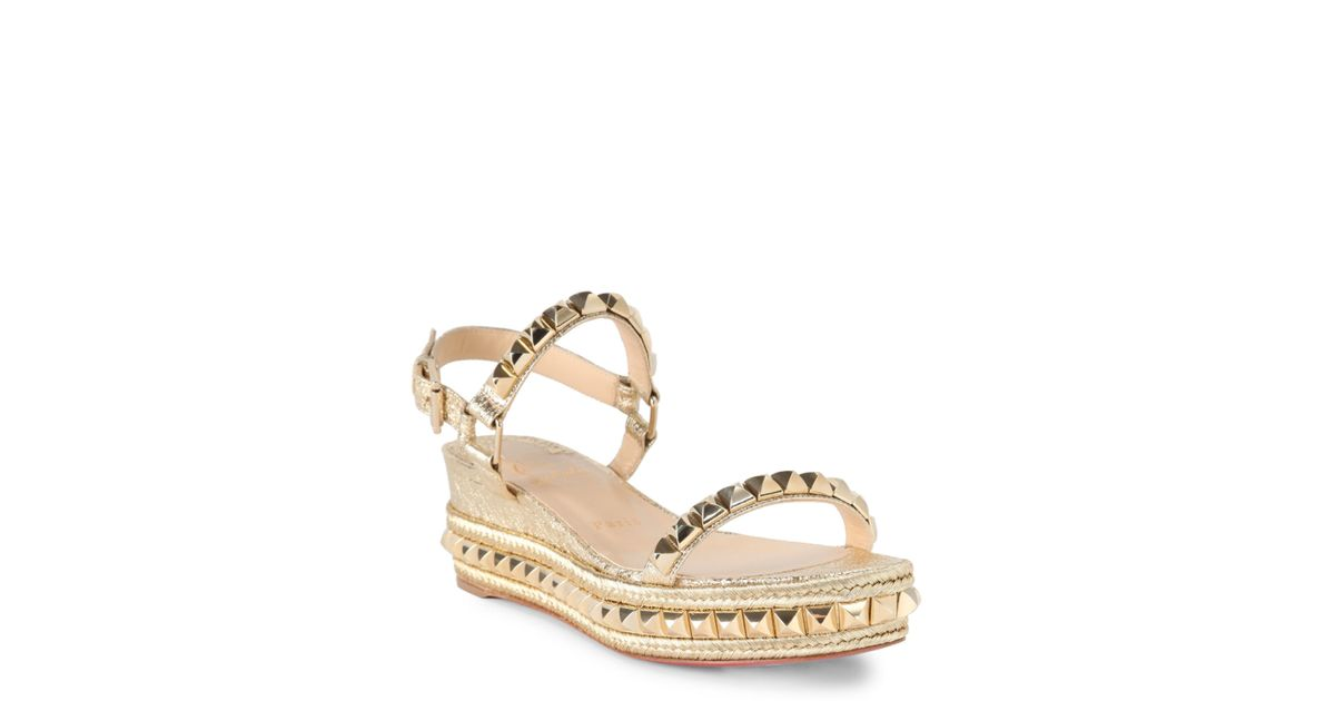 huge discount c70a6 2a6be Christian Louboutin Cataclou 60 Studded Metallic Leather Espadrille Wedge  Sandals