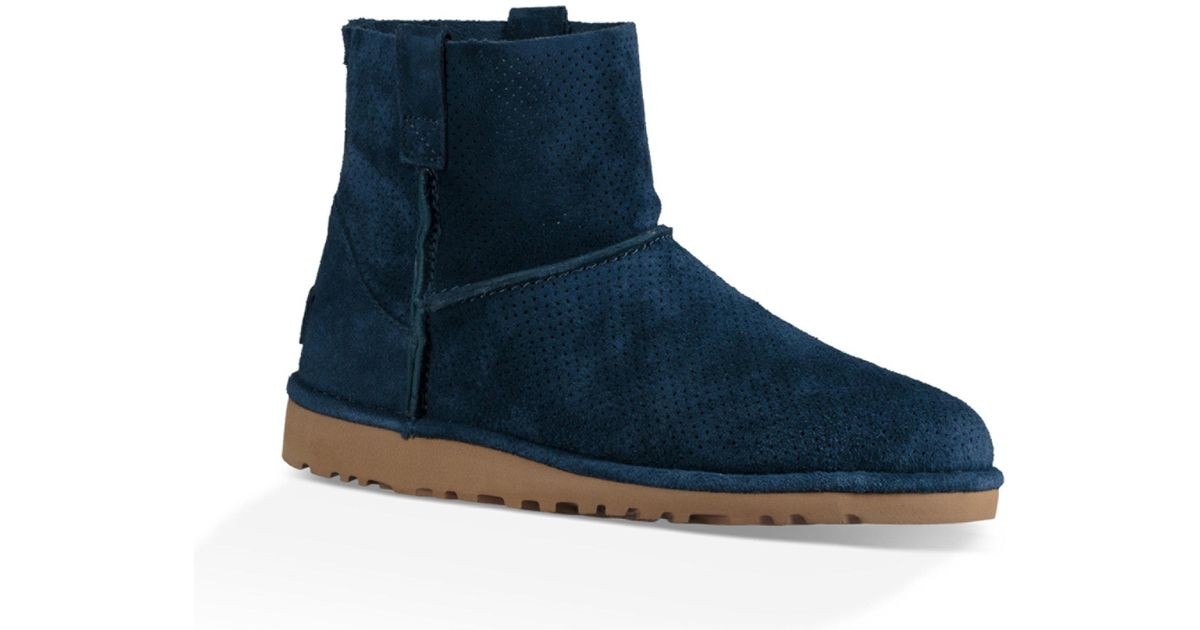 ca567db7cc4 Ugg Blue Classic Unlined Mini Perforated Suede Booties