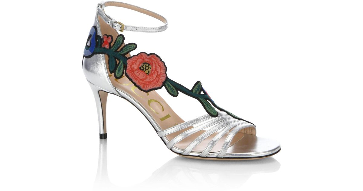 6bd7632e8923 Lyst - Gucci Ophelia Floral-embroidered Metallic Leather Sandals in Metallic