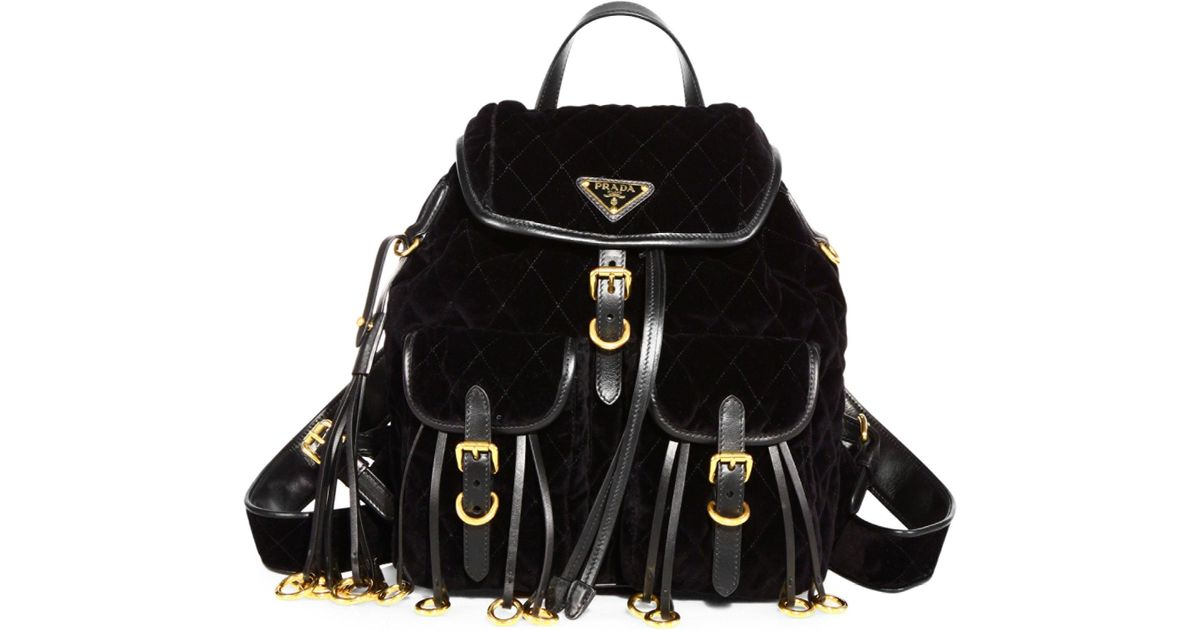 8ecaad32af7c39 ... greece prada black quilted velvet mini backpack lyst 66d1c cfbcc