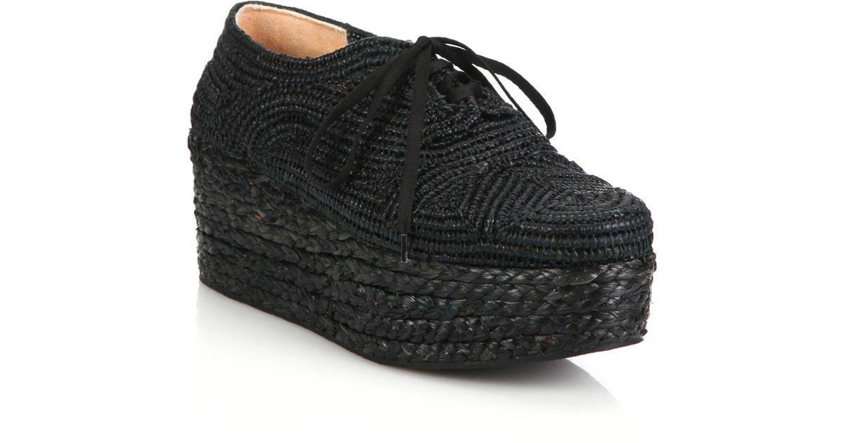 Lyst Raffia Black Sneakers Espadrille Clergerie Pinto In Platform 7Fwg7rq
