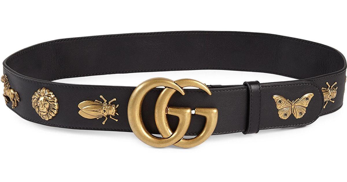 a0e52f33ef5 Lyst - Gucci Interlocking Gg Moon Metal   Leather Belt in Black