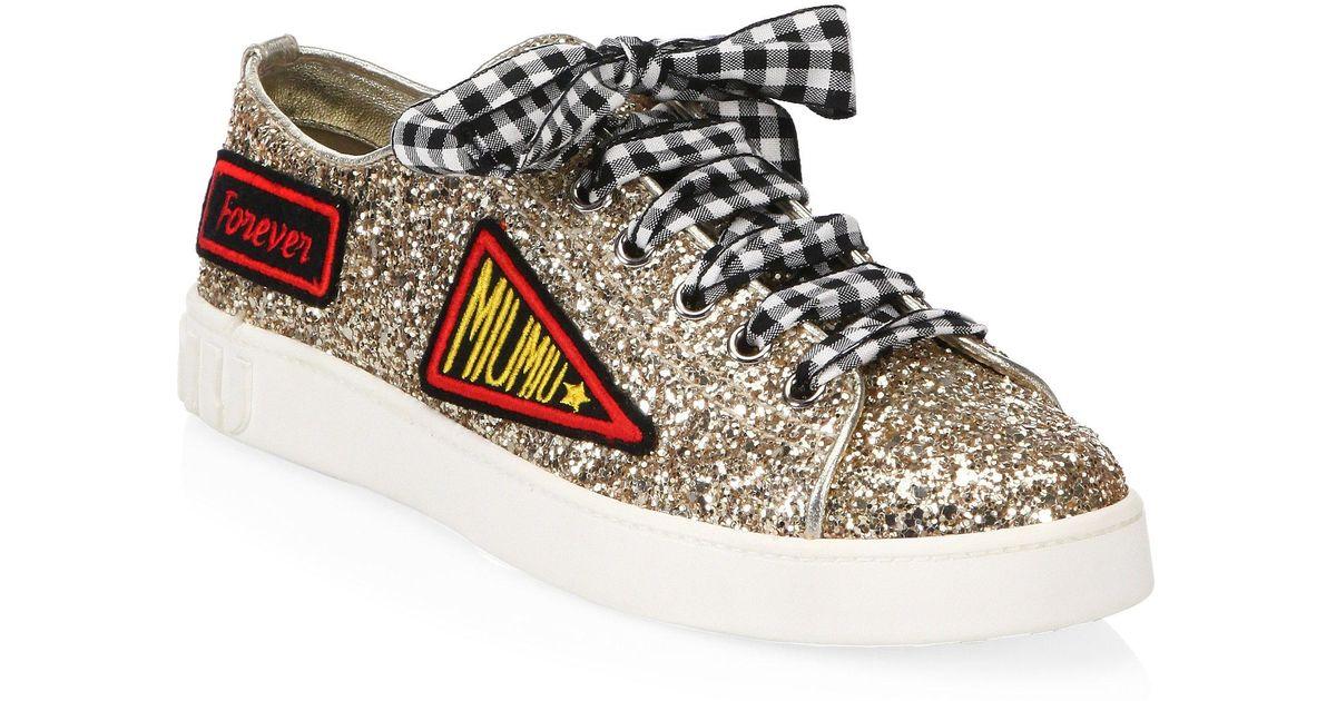 Miu Miu Leather Glitter Patch Sneakers