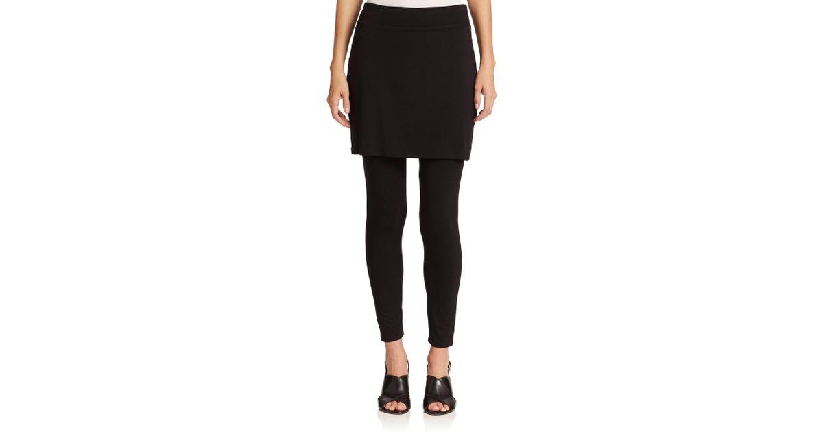 57da4f6831db3b Lyst - Eileen Fisher Jersey Skirted Ankle Leggings in Black