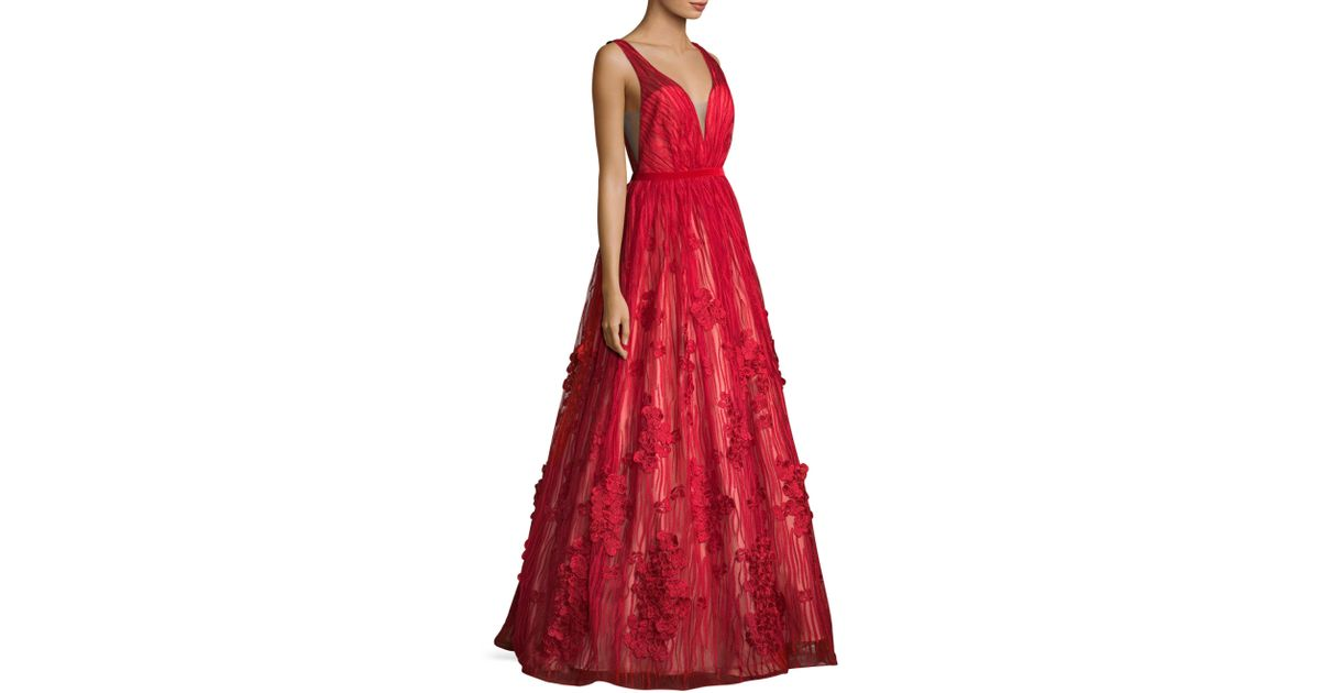 Lyst - Basix Black Label Deep V-back Floor-length Gown in Red