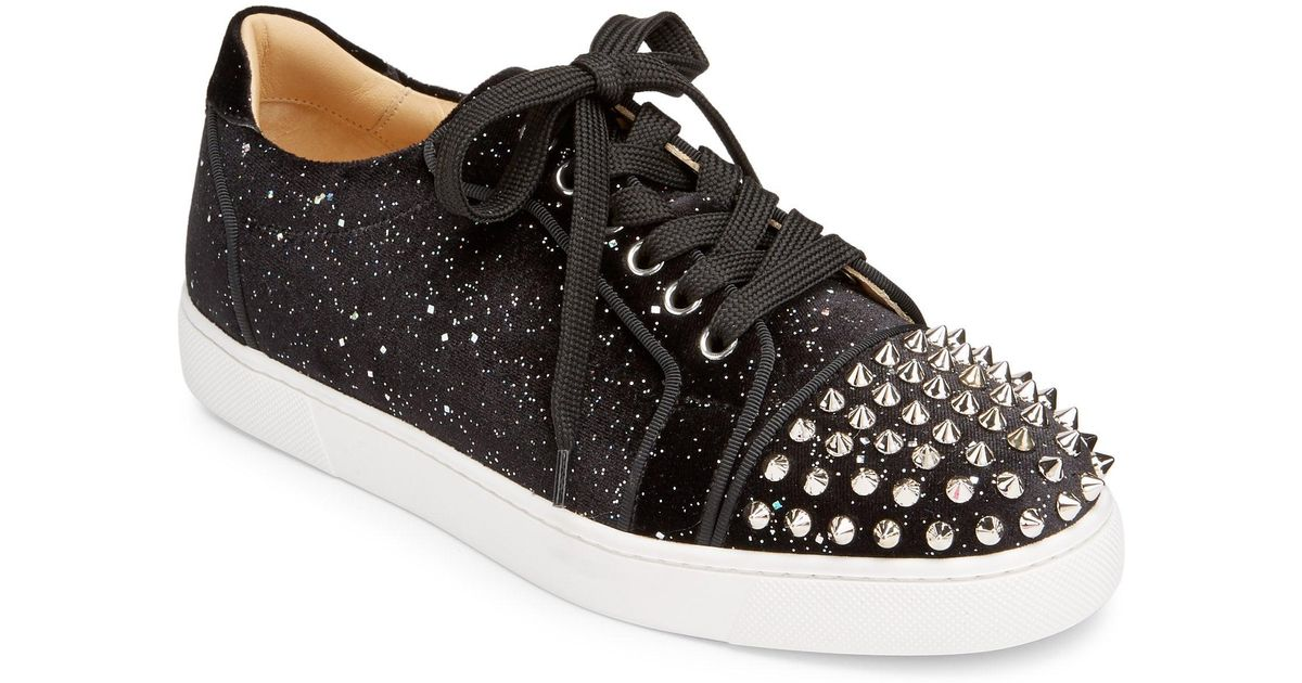 db88246a96b Christian Louboutin Black Viera Spiked Velvet Trainers
