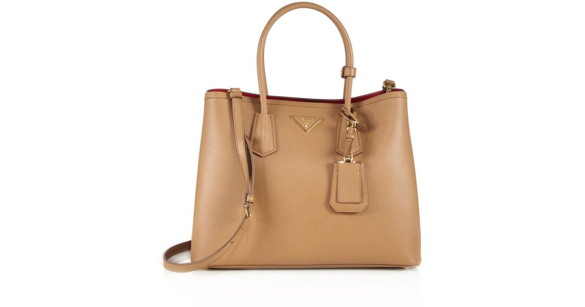 42b9df9399db Lyst - Prada Saffiano Cuir Large Double Bag in Brown