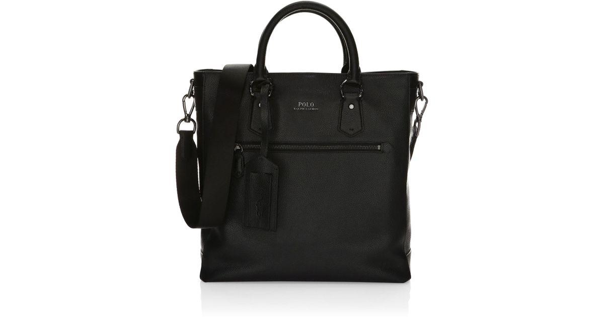 8afa5944b9ae Lyst - Polo Ralph Lauren Men s Tailored Pebble Leather Tote - Black in  Black for Men