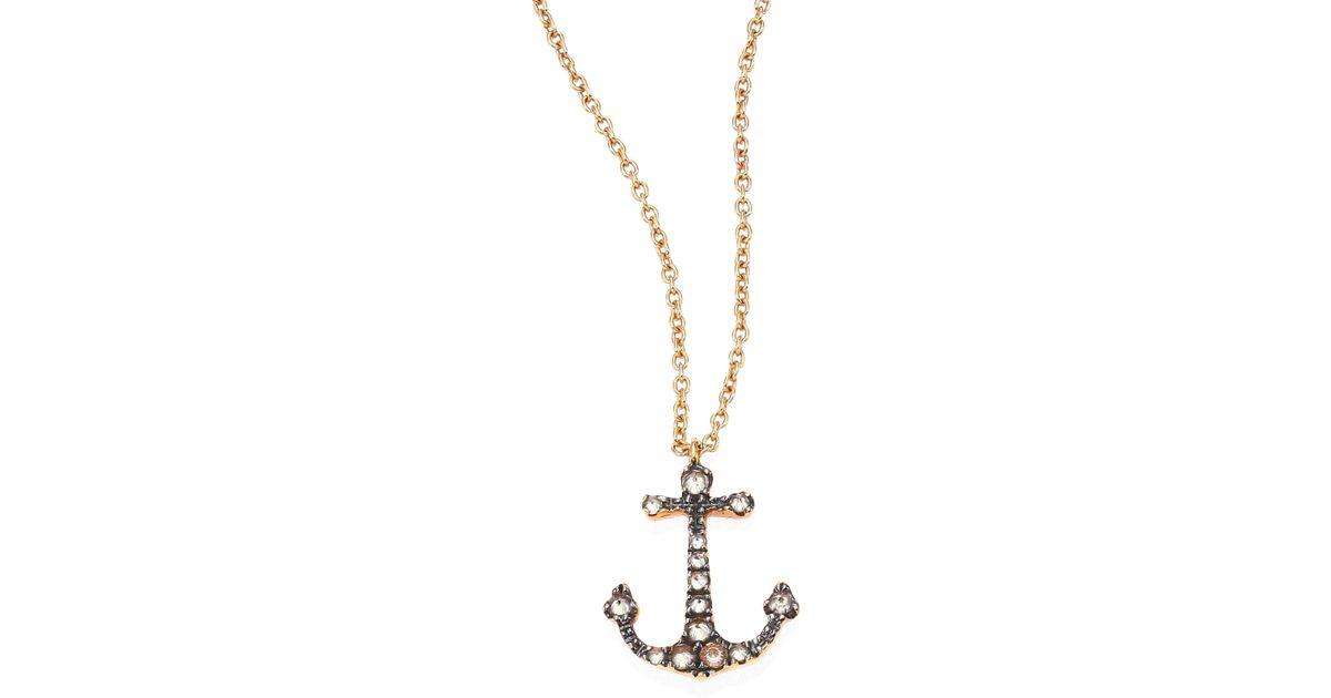 Lyst annoushka love diamonds 18k rose gold anchor pendant lyst annoushka love diamonds 18k rose gold anchor pendant necklace in metallic aloadofball Images