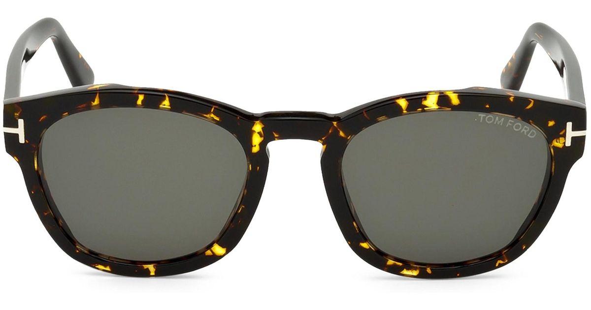e08dbca6b9 Tom Ford 51mm Bryan Round Tortoise Shell Sunglasses in Brown for Men - Lyst