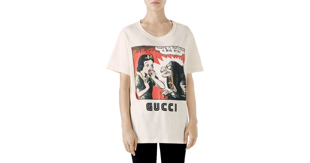 7f2125f56 Gucci Snow White And Witch Print T-shirt in White - Lyst