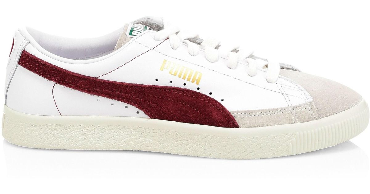 save off fde83 30f9f PUMA White Basket 90680 Leather & Suede Sneakers for men
