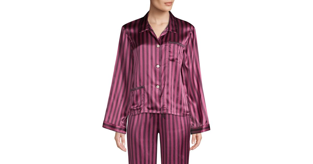 Morgan Lane Ruthie Silk Striped Pajama Top - Lyst a0ae8c728