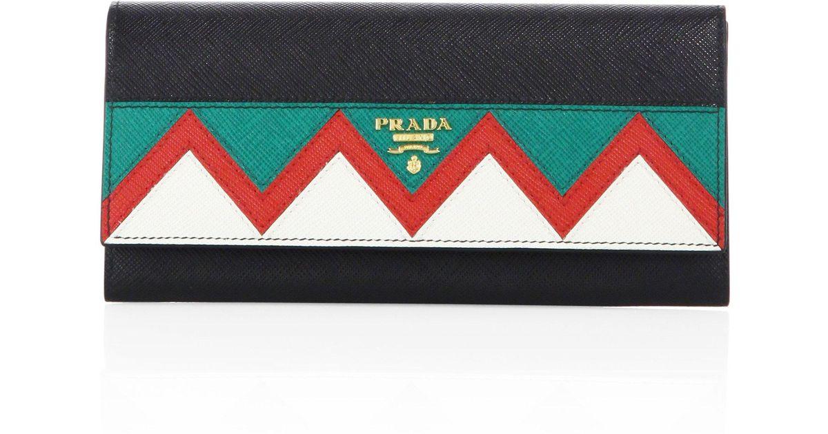 3285856b5d72fe Prada Saffiano Leather Zigzag Continental Flap Wallet - Lyst