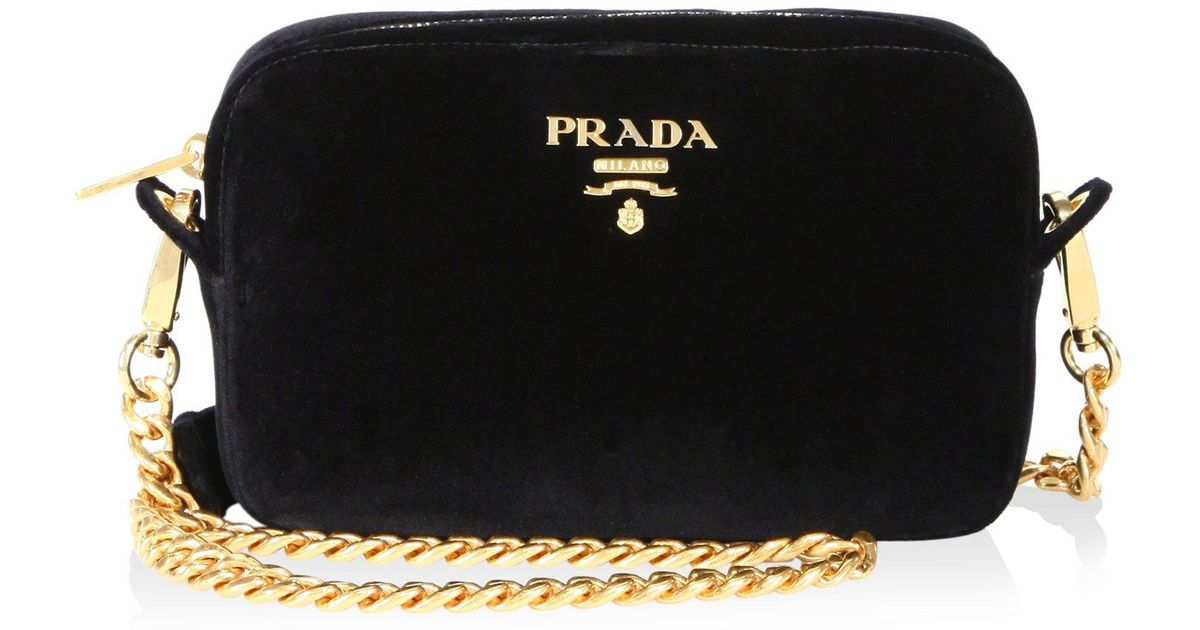 a4d2945fbd9f ... nylon crossbody bag 4539c denmark lyst prada bandoliera velvet chain  camera bag in black ffe3f 76d26 ...