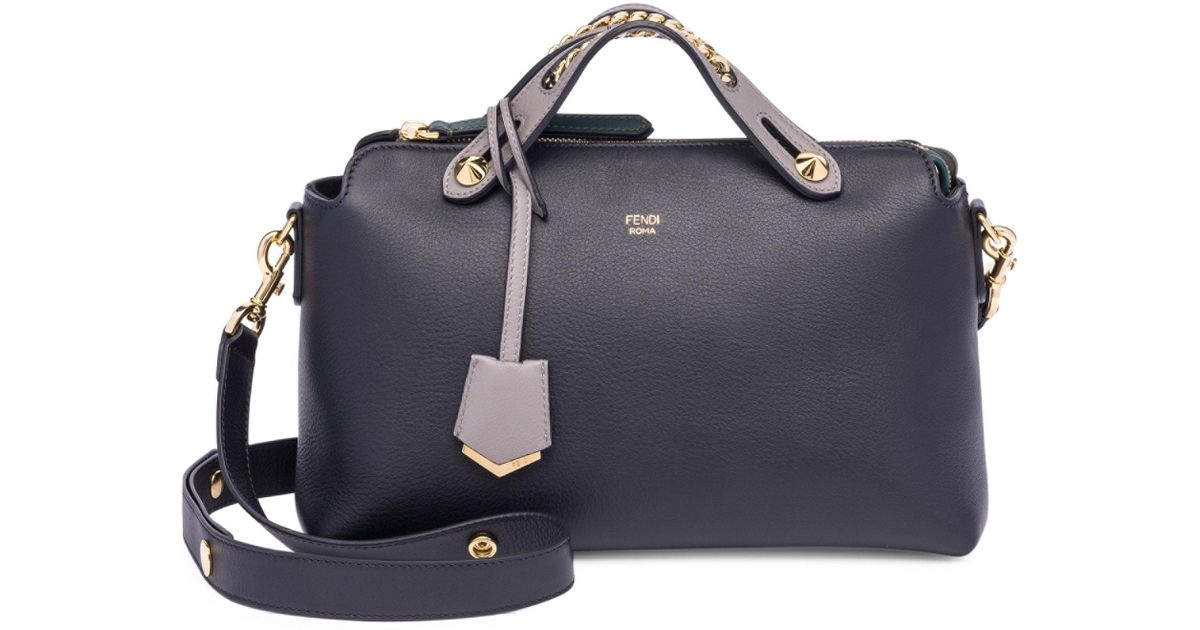 b99d96e44362 Lyst - Fendi By The Way Chain-inset Leather Boston Bag in Black