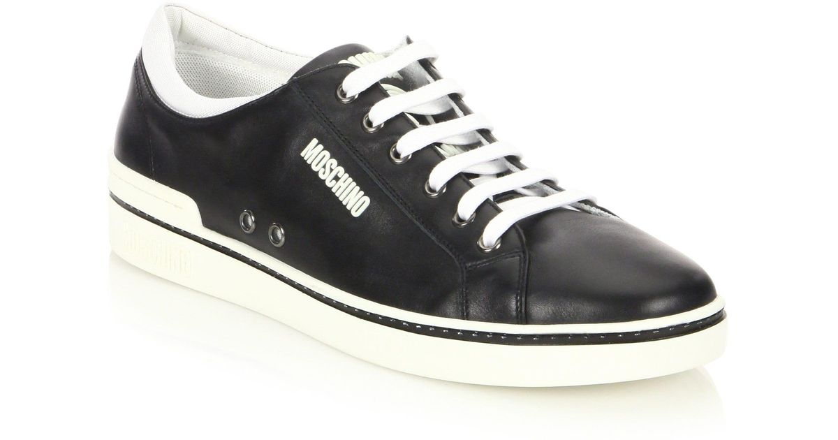 e0186760d81 Moschino Men's Contrast Leather Low-top Sneakers - Black - Size 46 (13) in  Black for Men - Lyst