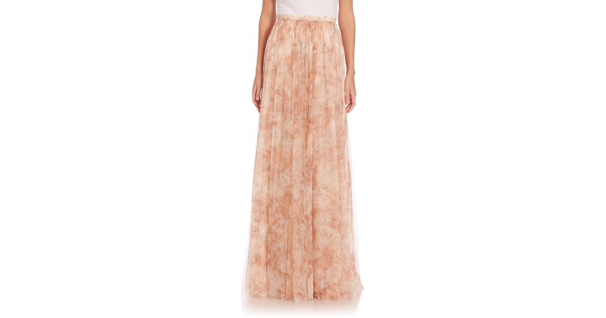 79cbfa5d0 Lyst - Jenny Yoo Arabella Printed Tulle Maxi Skirt in Pink