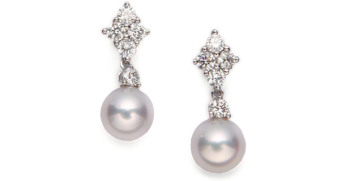 Mikimoto 7 5mm White Cultured Akoya Pearl Diamond 18k Gold Drop Earrings In Lyst