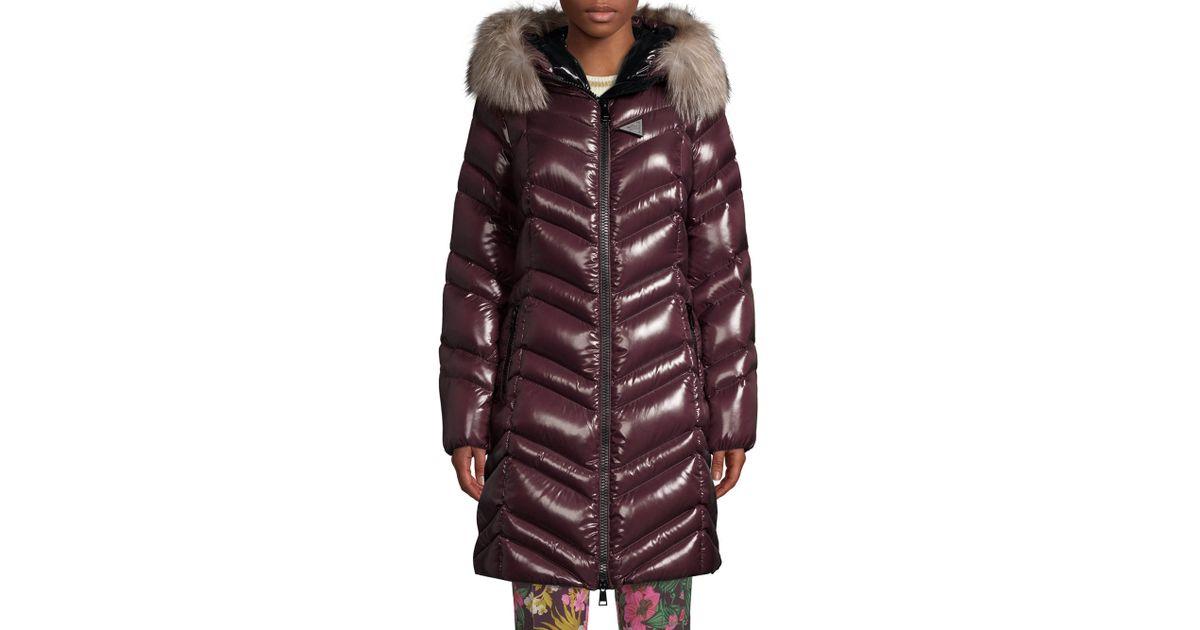 d8fd9ed88036 Lyst - Moncler Fulmar Chevron Fur-trim Hooded Coat in Purple