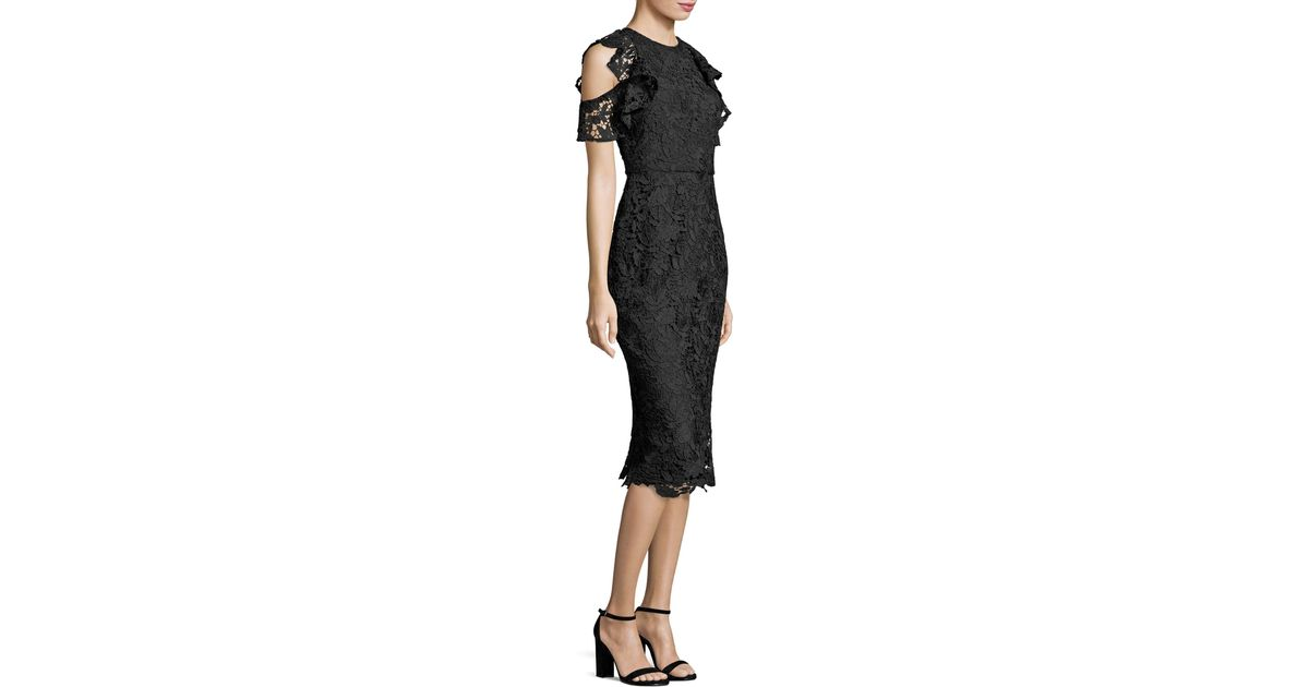 Shoshanna Midnight Ruffle Cold-shoulder Lace Midi Dress In