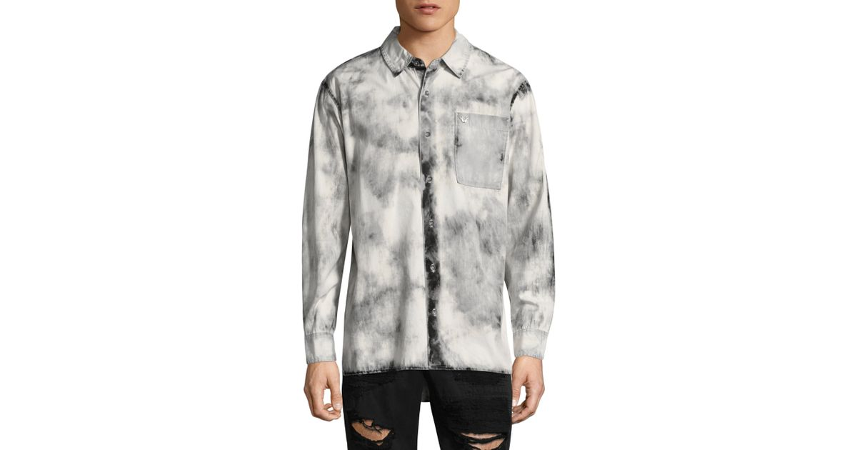 True Religion Long Sleeve Cotton Button Down Shirt For Men