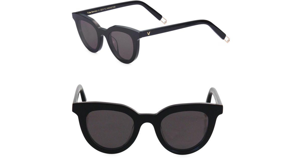 27a22f04e1 Lyst - Gentle Monster Women s Tilda Swinton X Eye Eye 45mm Subtle Cat Eye  Sunglasses - Black in Black