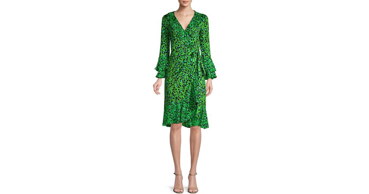 b5bc5a50e65c Diane von Furstenberg Silk Leopard Print Ruffle Wrap Dress in Green - Lyst