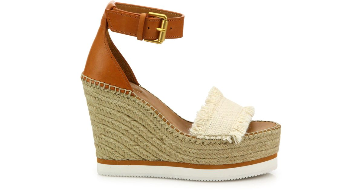6dc7d707eaed Lyst - See By Chloé Glyn Leather   Frayed Canvas Espadrille Wedge Platform  Sandals