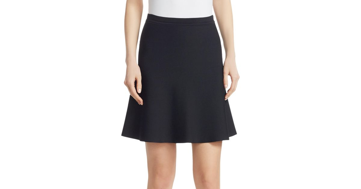 1f073f4e9e Theory Short Flare Skirt in Black - Lyst
