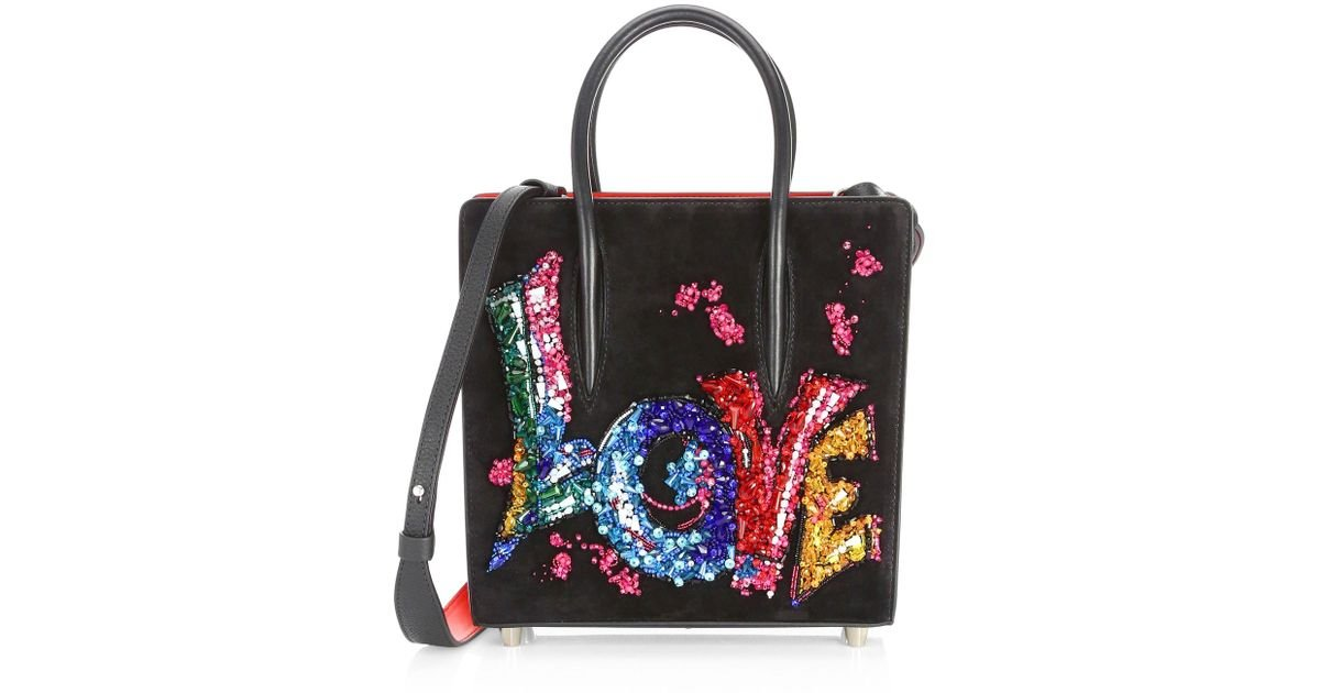 c9d9f002eed Christian Louboutin Women's Paloma Suede Embroidered Love Shoulder Bag -  Black Multi