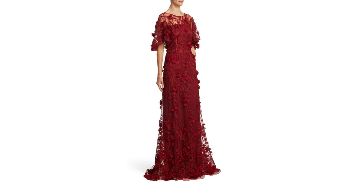 David Meister Embellished Floral Applique Gown In Red Lyst