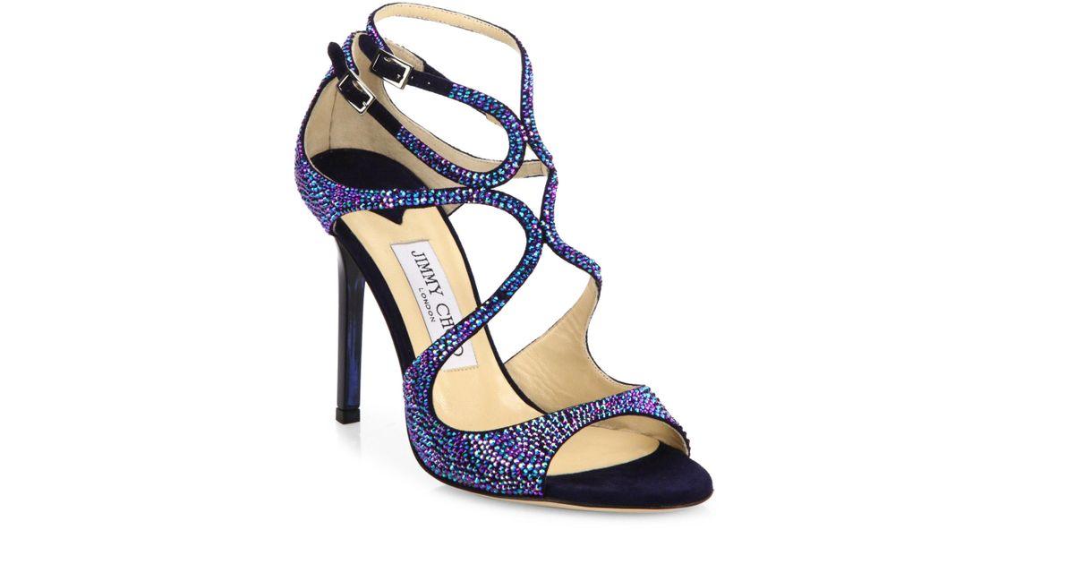 Suede Multicolor Sandals Choo Crystalamp; 100 Jimmy Memento Strappy Lang JlKcu3TF1