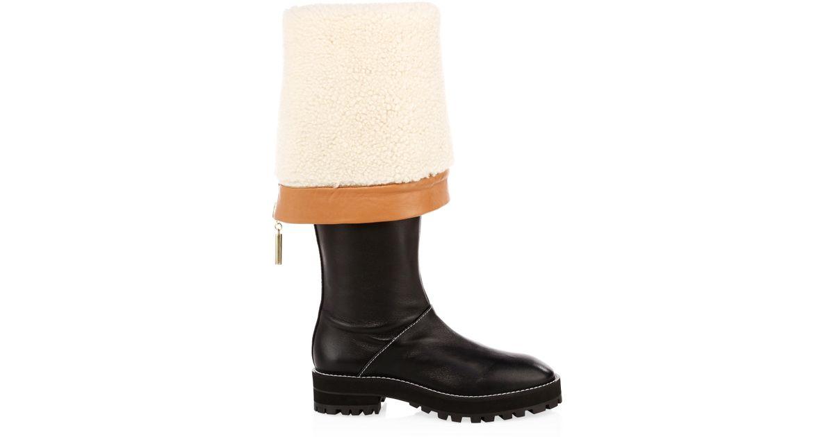 1289eeb24be Lyst - Stuart Weitzman Women s Renata Shearling-lined Leather Knee-high  Boots - Black - Size 5.5 in Black