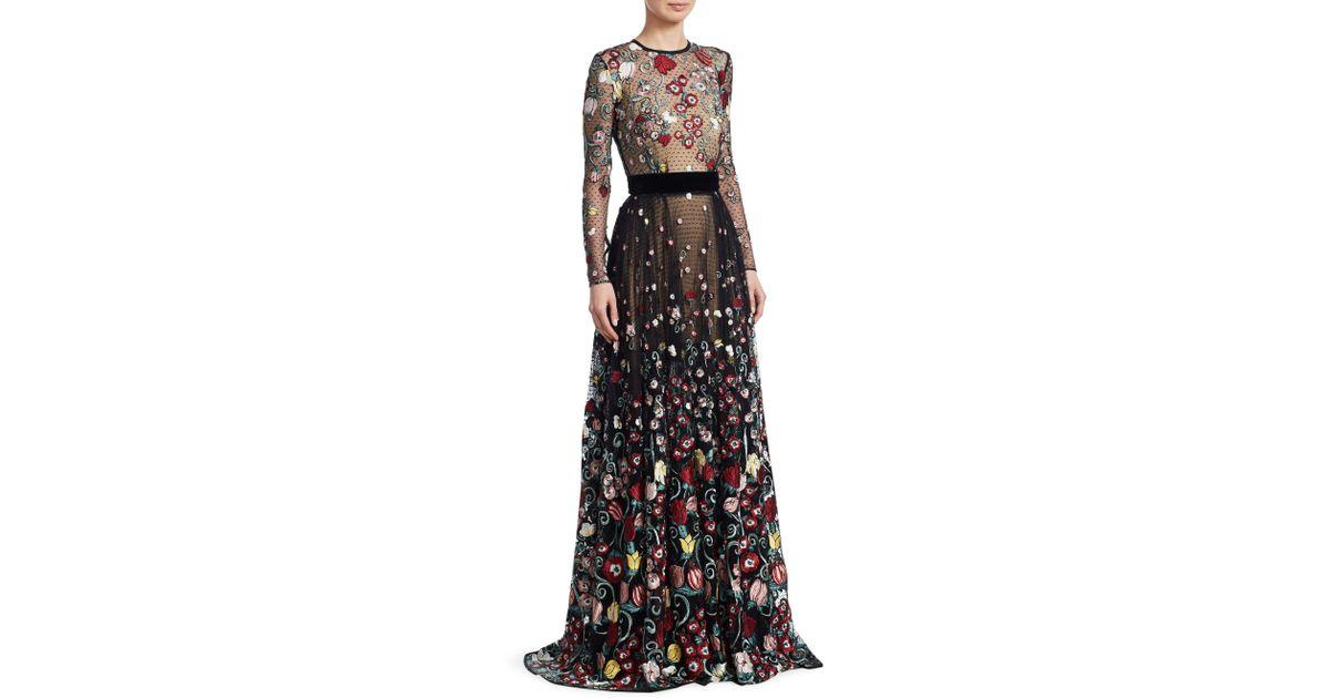 5feef7e7a8de Zuhair Murad Flail Embroidered Mesh Gown in Black - Lyst